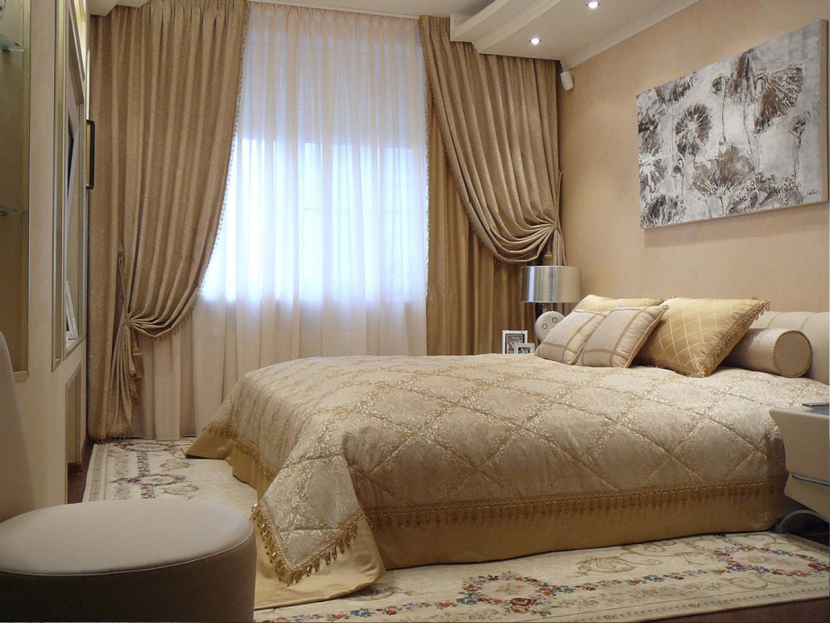 Дизайн занавесок в спальню фото