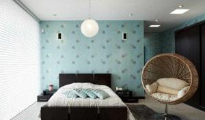 Дизайн стен спальни обои