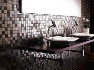 Плитка под металл на кухни дизайн
