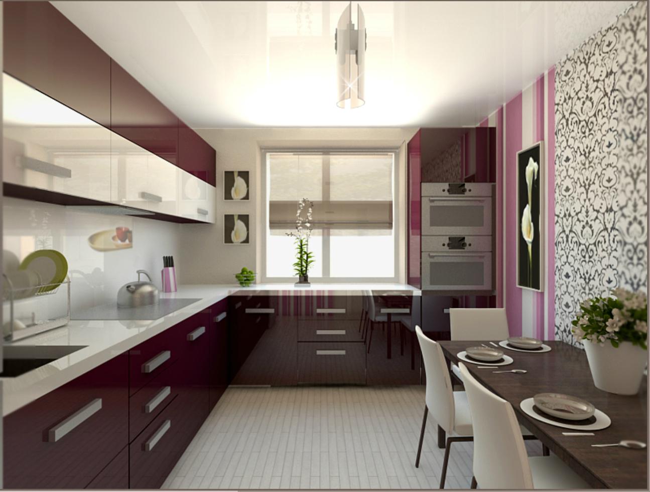 кухня с балконо