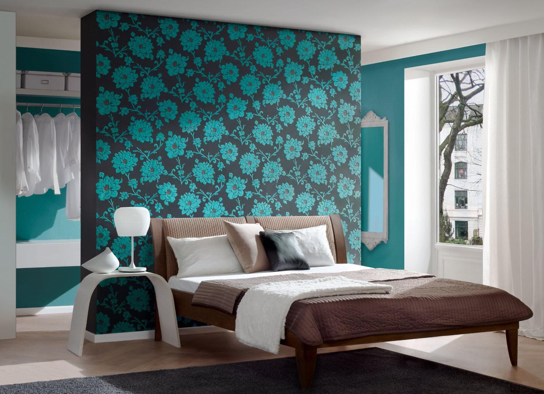 Дизайн стен спальной комнаты текстиль