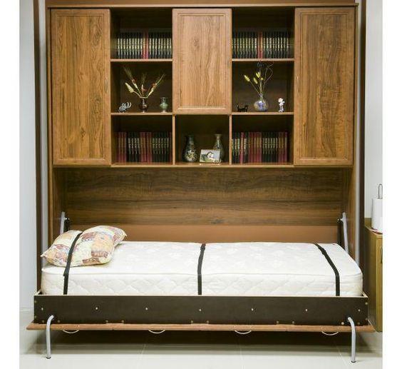 Горизонтально встроенная кровать-шкаф