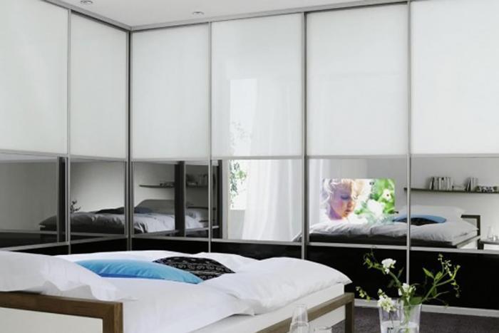 Угловые шкафы-купе в дизайне спальни