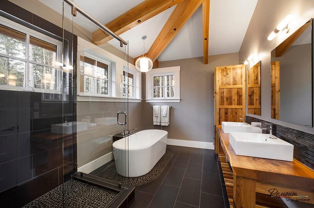 черная плитка для пола ванной