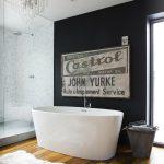 Черно-белая ванная в стиле лофт