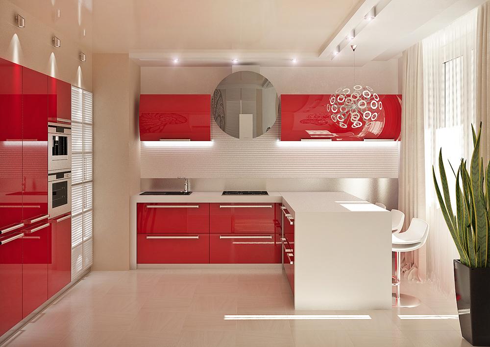 красно-белая кухня в современном стиле