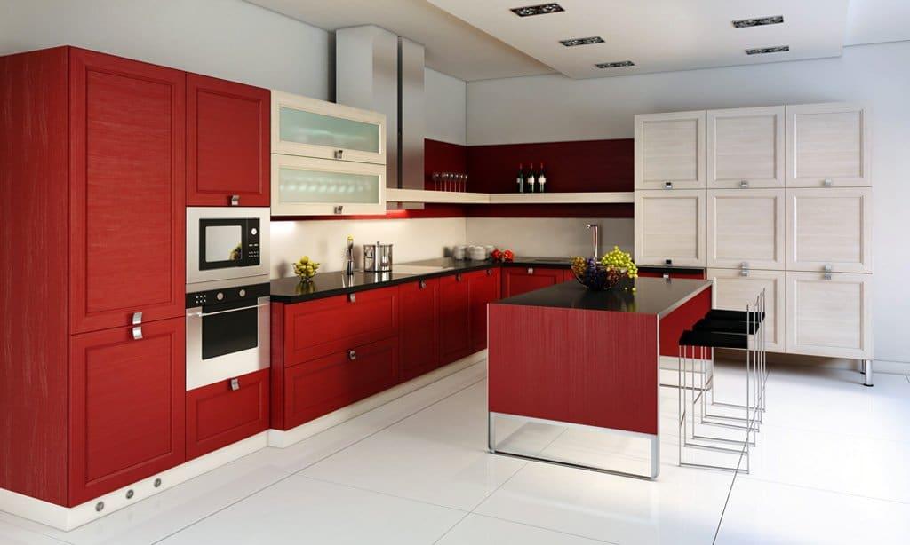оформление интерьера кухни в красном цвета