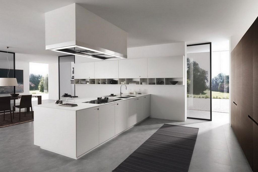 безупречная белая кухня в стиле минимализм