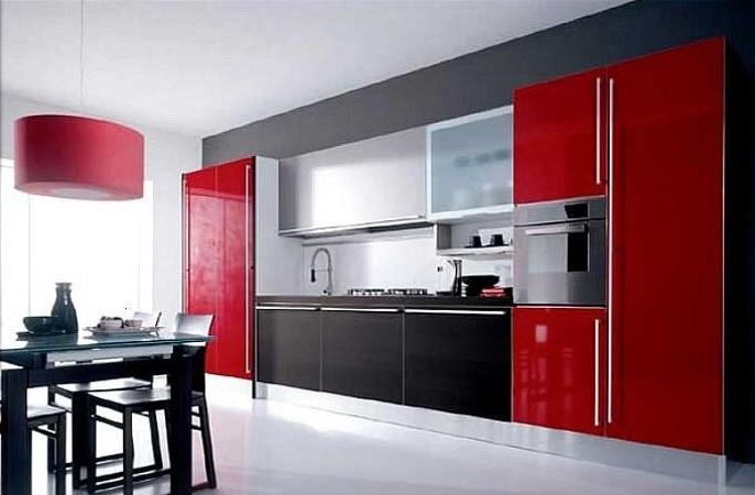фото кухонного гарнитура красно-черного цвета