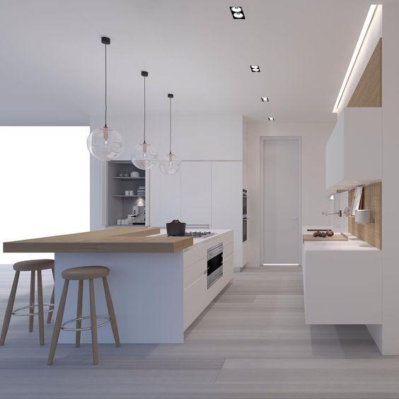функциональная светлая кухня в стиле минимализм