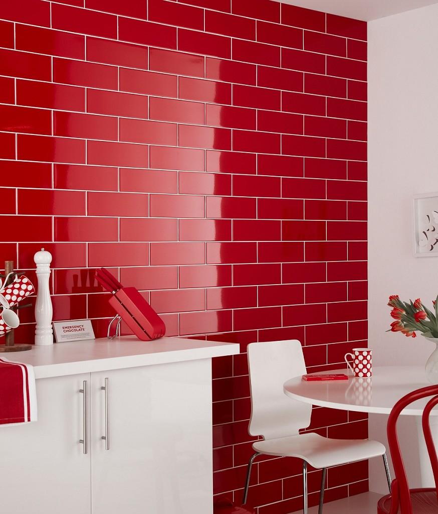 идея оформления кухни красно-белого цвета