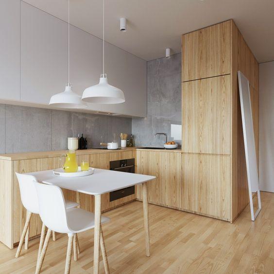 кухня из дерева в стиле манимализм
