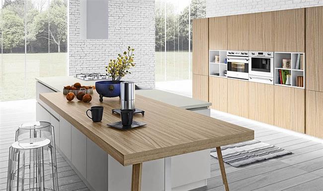 натуральные материалы в интерьере кухни в стиле минимализм
