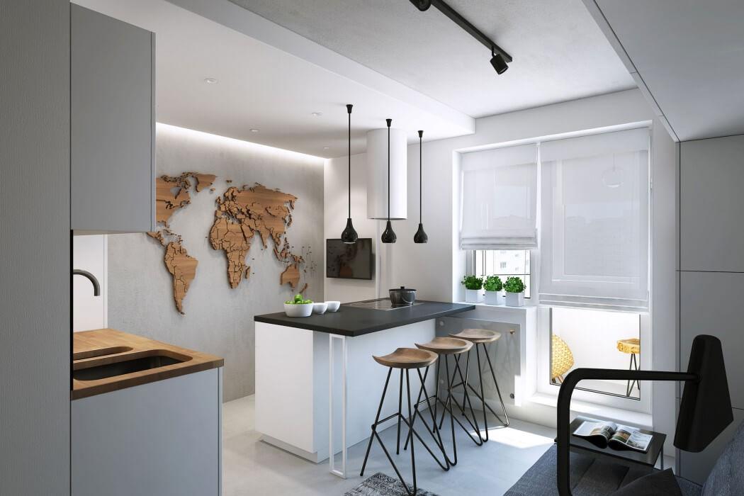 дизайн небольшой кухни в стиле минимализм