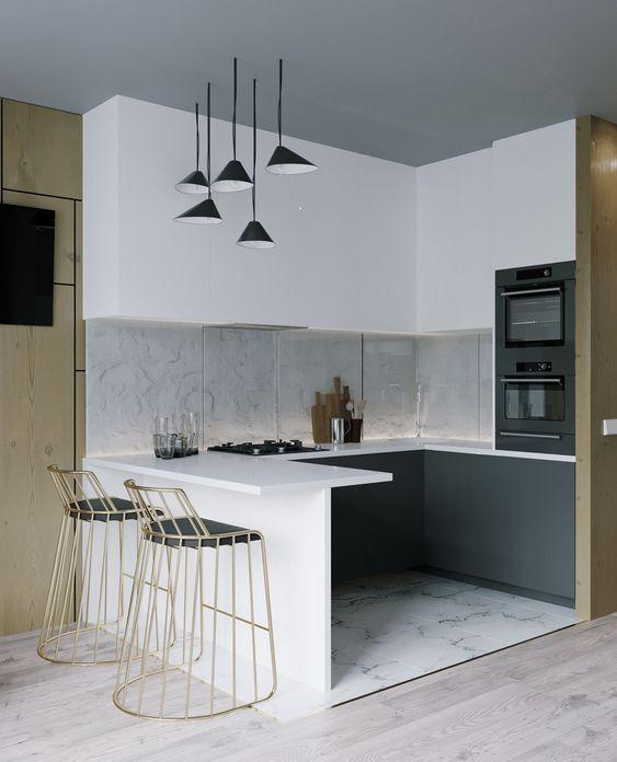 пример интерьера маленькой кухни в стиле минимализм