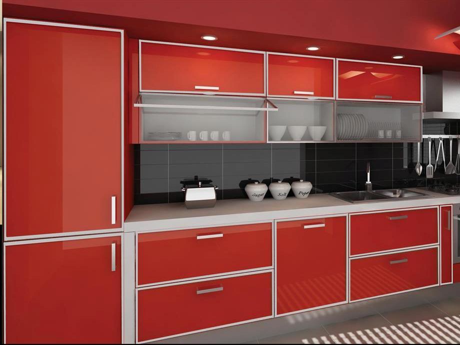 вариант дизайна кухни с красным фасадом