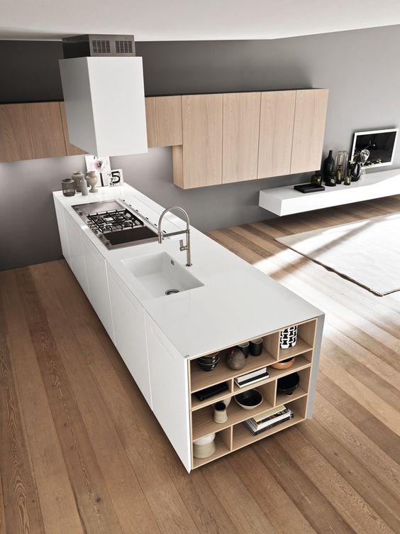 высокая функциональность кухонного острова в стиле минимализм